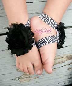 20%OFF .. Baby Barefoot Sandals .. Black Flowers on Zebra .. Toddler Sandals .. Newborn Sandals