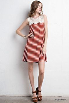Burnt Orange White Striped Dress with Lace - Longhorn Fashions
