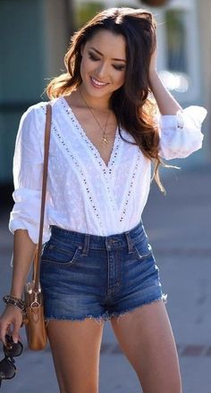 #summer #trends #outfits | White Romantic Top + Denim Shorts