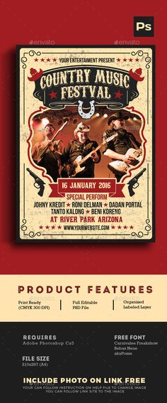 Country Music Festival — Photoshop PSD #template #saloon • Available here → https://graphicriver.net/item/country-music-festival/14310845?ref=pxcr