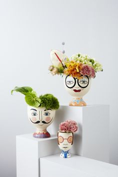 New face planters include Dali, Iris and Elton Bottle Art, Bottle Crafts, Painted Pots, Hand Painted, Keramik Design, Diy And Crafts, Paper Crafts, Decorated Flower Pots, Face Planters