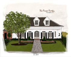 Home Drawing-Custom Portrait Illustration-Custom Home