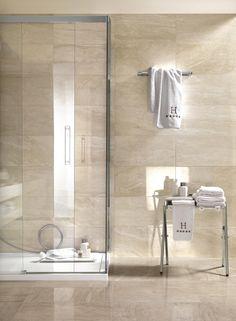 Symphony Collection: marble effect stoneware tiles Spider toilet design … – Wanderlust Travertine Bathroom, Marble Bathroom Floor, Cream Bathroom, Stone Bathroom, Beige Bathroom, Modern Bathroom, Light Grey Bathrooms, Marble Bathrooms, Bathroom Design Small