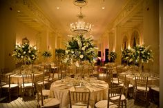 Love the higher centerpieces so you can see people across the table.