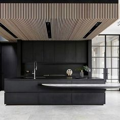 Modern Home Decor Kitchen Masculine Kitchen, Home Decor Kitchen, House Design, Black Kitchens, Interior, Minimalist Architecture, House Interior, Wood Slat Ceiling, Modern Kitchen Design