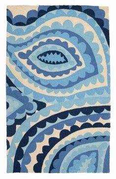 vivacious hook rug, Trina Turk via modernchichome Textile Patterns, Print Patterns, Textiles, Paisley Rug, Coastal Rugs, Coastal Living, Floor Cloth, Floor Rugs, Navy Rug
