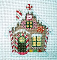Handpainted Peppermint Stick Gingerbread House Needlepoint Canvas