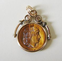 Antique WATCH FOB CHARM Tiger Eye Cameo Warrior Round Pendant Victorian circa 1900 on Etsy $68.99 by pegi16