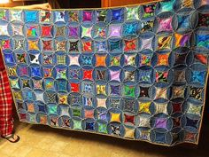 Here's a Quilt I Made From My Husbands Old Jeans