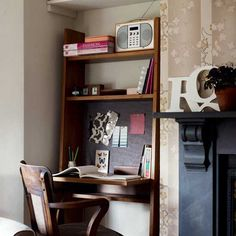 Make the most of an alcove or awkward space with a simple desk and chair - this is a great home office solution if you don't want to sacrifice a bedroom