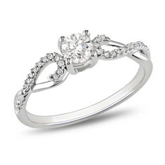 3/8 CT. T.W. Diamond Solitaire Twine Engagement Ring in 10K White Gold - Zales