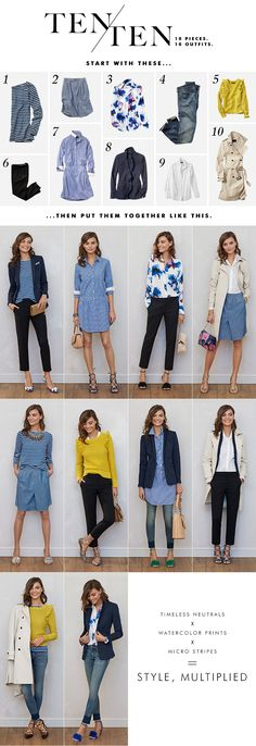 10 wardrobe staples for spring, styled 10 different ways. These timeless neutrals, watercolor prints and micro stripes are the perfect mix-and-match pieces. We're taking notes for that weekend getaway where wardrobe versatility and packing light is a must Capsule Wardrobe Travel, Spring Capsule Wardrobe 2017, Summer Work Wardrobe, Capsule Wardrobe Examples, Office Wardrobe, Minimal Wardrobe, Simple Wardrobe, Classic Wardrobe, Perfect Wardrobe