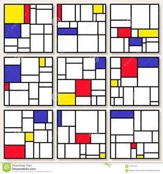 Illustration about Set Of Nine Vector Square Compositions in Piet Mondrian De Stijl Style Painting Design. Illustration of artistic, grid, decorative - 61337707 Piet Mondrian Artwork, Mondrian Kunst, Garden Mirrors, Quilt Modernen, Free Art Prints, Art Plastique, Illustration, Geometric Art, Paint Designs