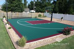 Backyard Basketball Court with Rebounder
