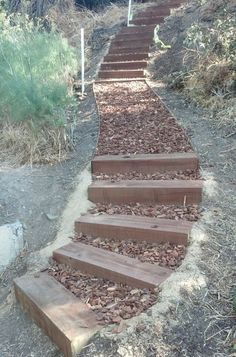 garten am hang Garden Steps On A S - gartenwell Landscape Stairs, Landscape Design, Garden Design, House Landscape, Hillside Garden, Garden Paths, Sloping Garden, Diy Garden, Garden Ideas