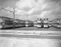 The tram-graveyard in Charlton, the last of the London trams waiting to be scrapped. 1951.
