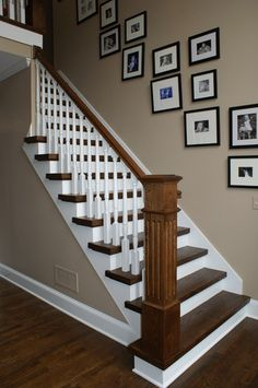 Stairs makeover. We already have this color on our wall. Slight adjustments with stair rail.