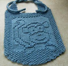 Baby Knitting Patterns Dishcloth Down Cloverlaine: Imp Bib Knitted Washcloths, Knit Dishcloth, Baby Bibs Patterns, Baby Knitting Patterns, Knitting Charts, Free Knitting, Knitting For Kids, Knitting Projects, Crochet Bib