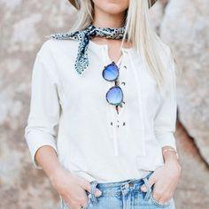 lace up white top, denim, shades, neckerchief