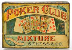 Royal Flush poker hand pictured on the lid. Tobacco manufactured by S.F. Hess & Company