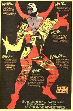 Deadman. Strange Adventures comic book advertisement. DC Comics.