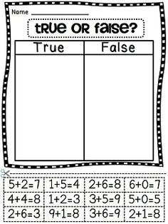 True or false with addition equations cut and paste- maybe this should be made to examples and non examples for intermediate??