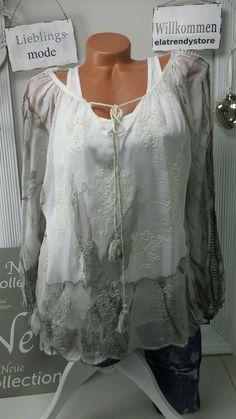 Italy Blogger Seide Bluse Tunika   Top Batik Vintage Grau Boho 36 38 40 42… 2292986442