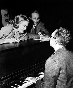 "Grace Kelly and Bing Crosby rehearse with ""High Society"" music supervisor Saul Chaplin"