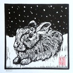 lino print by Red Boy Prints 2015 © Gravure, Hare, Pet Birds, Urban, Adventure, Boys, Winter, Prints, Animals