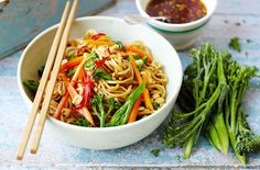Broccoli Noodles with Soy, Lime and Chilli Dressing. Use wholemeal noodles or soba.