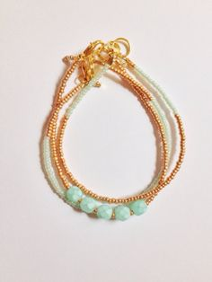 Mint and Gold triple stack set by JuneandPenny on Etsy