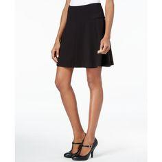 kensie Ponte Skater Skirt ($59) ❤ liked on Polyvore featuring skirts, black, flared skirt, circle skirt, kensie skirt, skater skirts and kensie