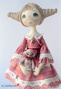 Textile Cloth doll Anabel and Fantasy Bear, by ArtDollsByKseniya