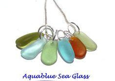6 English Sea Glass Medium Charms  Top Drilled by aquablueseaglass, $15.99
