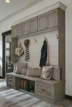 Potential mudroom furniture configuration