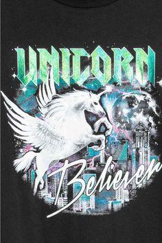 T-shirt with a motif - Black/Unicorn - Ladies   H&M GB