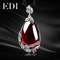 EDI Women Brand Vintage 925 Sterling Thai Silver Royal Garnet Natural  Semi-Precious Stones Pendant Necklace For Wedding 01b501373faea
