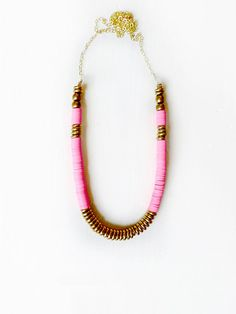 Hot pink brass necklace by KimDulaney on Etsy, $48.00