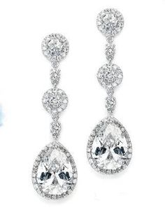 Gorgeous! Mariell CZ 400E Wedding, Prom, Quince Earrings - Pierced or Clip On