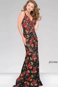 3bfc85d40f9f Jovani 48985 Utah prom dress floral long black fitted v neck Designer Evening  Dresses, Lace