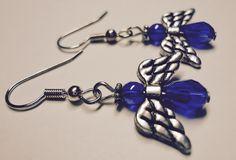 Blue Earrings, Angel Earrings, Swarovski Dangle Earrings by Shabyas on Etsy