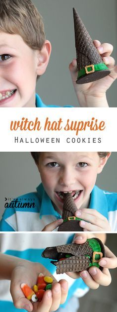 witch hat surprise cookies {easy Halloween treat for kids} - It's Always Autumn So cute! These easy to make witch hat surprise cookies are made with an ice cream cone and filled with Halloween treats. What a fun idea to do with the kids! Halloween Cupcakes, Dessert Halloween, Theme Halloween, Halloween Treats For Kids, Halloween Goodies, Halloween Birthday, Halloween Crafts, Halloween Stuff, Halloween Costumes