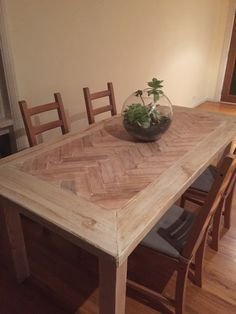 DIY Herringbone Parquetry Hardwood and Treated Pine White-wash dining table. #parquetry #whitewash #diningtable #herringbone #diy