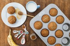 Whole meal healthy banana breakfast muffins! :) Kayla Itsines recipe. Quick and easy breakfast and they freeze great!