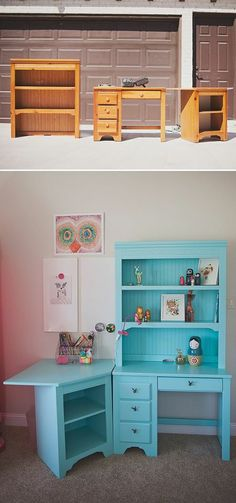 Thrifted and painted furniture to awesome work area!