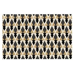 KESS InHouse Nika Martinez 'Glitter Triangles in Gold and Black' Geometric Dog Place Mat, 13' x 18' -- See this great image