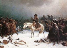 Napoleons Rückzug aus Moskau, Gemälde von Adolph Northen - der Erste, der floh, war Napoleon - so TOLSTOI in KRIEG UND FRIEDEN - er geht im übrigen sehr KRITISCH mit den Geschichtsschreibern um!!
