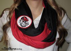 Black and Red Georgia Bulldogs Infinity Scarf