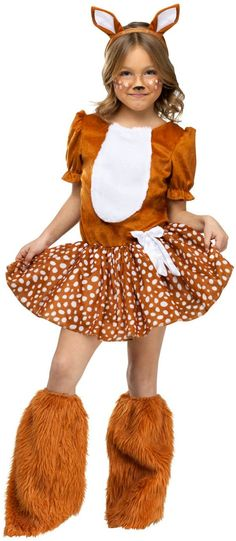 A unique selection makes this Halloween Costume an original. Oh Deer! Kids Costume includes light brown dress with plush chest, polka-dot. Fox Halloween Costume, Raccoon Costume, Reindeer Costume, Fox Costume, Halloween Face Mask, Halloween Kids, Halloween Makeup, Halloween Party, Couple Halloween