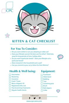 Kitten & Cat Checklist – CPC Cares As you can image I didn't start out with six cats. First Time Cat Owner, Cat Site, Pregnant Cat, Getting A Kitten, Cat Care Tips, Pet Care, Pet Tips, Kitten Care, Animal Help